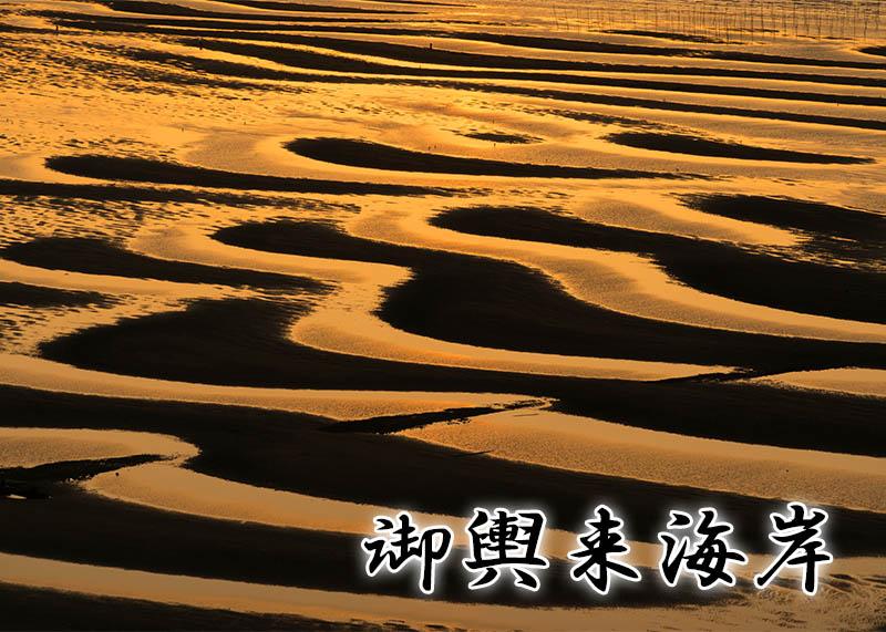 御輿来海岸撮影~波が描いた芸術的な砂紋に沈む夕陽~